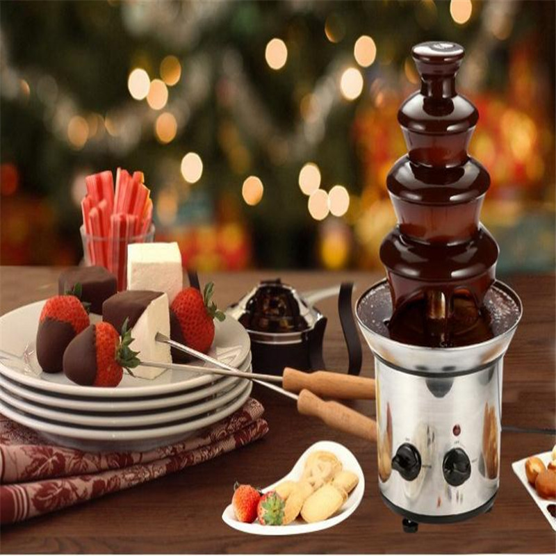 4 tiers 46cm Fantanstic Stainless Steel Chocolate fountain machine 110V/220V  Fondue Event Exhibition Wedding Birthday Party 3 tiers chocolate fountain fondue event wedding for children birthday home fountains christmas waterfall machine