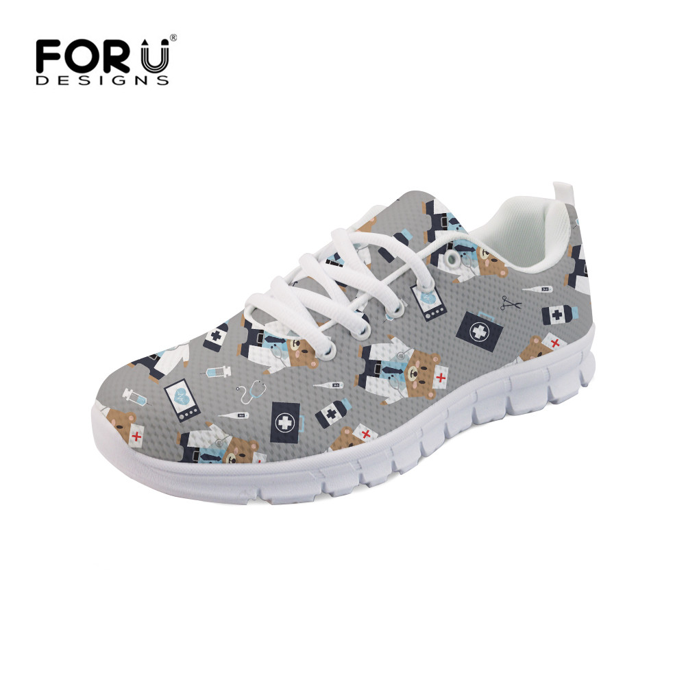 FORUDESIGNS Woman Flats Shoes Cute Nurse Bear Prints Casual Sneakers Women Girls Lightweight Mesh Walking Shoes Zapatos Mujer forudesigns 3d flowers pattern women casual sneakers comfortable mesh flats shoes for female girls lace up shoes zapatos mujer