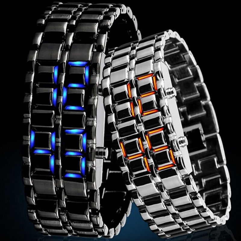 2019 Fashion LED Electronic Watch Stainless Steel Bracelet Watch Men Lava Iron Samurai Metal  Faceless Digital Wristwatches 752