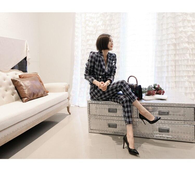 Pantalones De Traje Femenino Color Mujer Trajes Alta Doble Rayas Moda Chaqueta Cuadros Picture Oficina Calidad Nuevo 2019 Blazer Breasted 0BZqfwH8