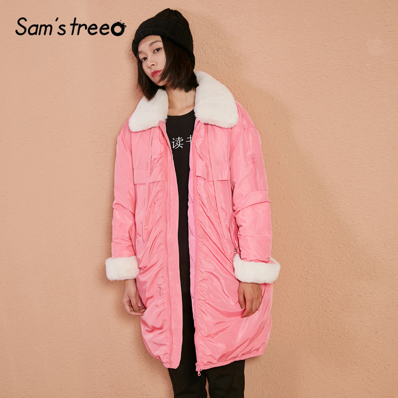 Samstree Fur Collar Winter Women   Down     Coats   Sweet Pink Female Long 80% White   Down   Jacket Zipper Snow Outwear Parka   Coat