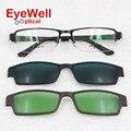 2017 new arrival moda grampo em óculos de sol conjuntos de prescrição óculos de sol para homens polarizada óculos de sol da lente e lente de visão noturna 686