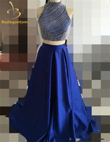 2018 Sexy Royal Blue Two Piece Long Prom Dresses Beads A Line Satin Floor Length Party Dress Vestido Longo QA785