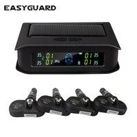 Easyguard zonne-energie oplaadbare auto TPMS bandenspanning monitor met 4 interne sensor ondersteuning PSI of BAR