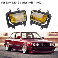 Front Bumper Fog Lights Yellow Glass Left Right Bracket For BMW E30 3 Series 1985 1992