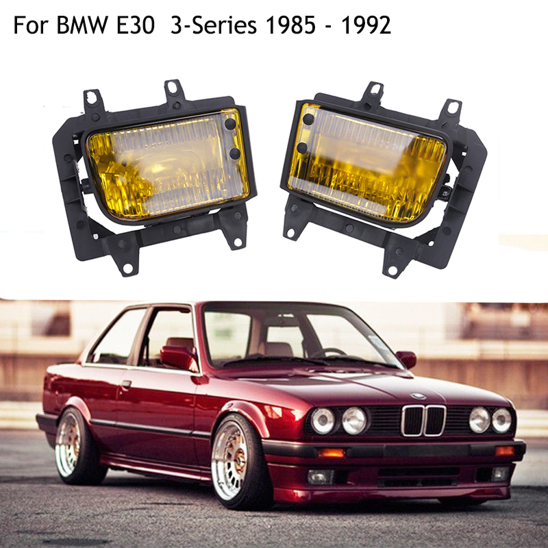 1 Pair Front Right Left Bumper Fog Lights Yellow Plastic Lens For BMW E30 3-Series Sedan Coupe 318i  325i 1985-1992 C/5 bmw m3 e30 coupe