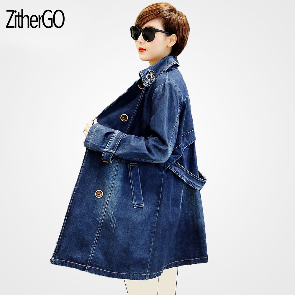 2018 Autumn Denim Jacket Women Plus Size Long Sleeve Casual lapel Jeans Jacket Double breasted Women Long Denim Coat in Jackets from Women 39 s Clothing