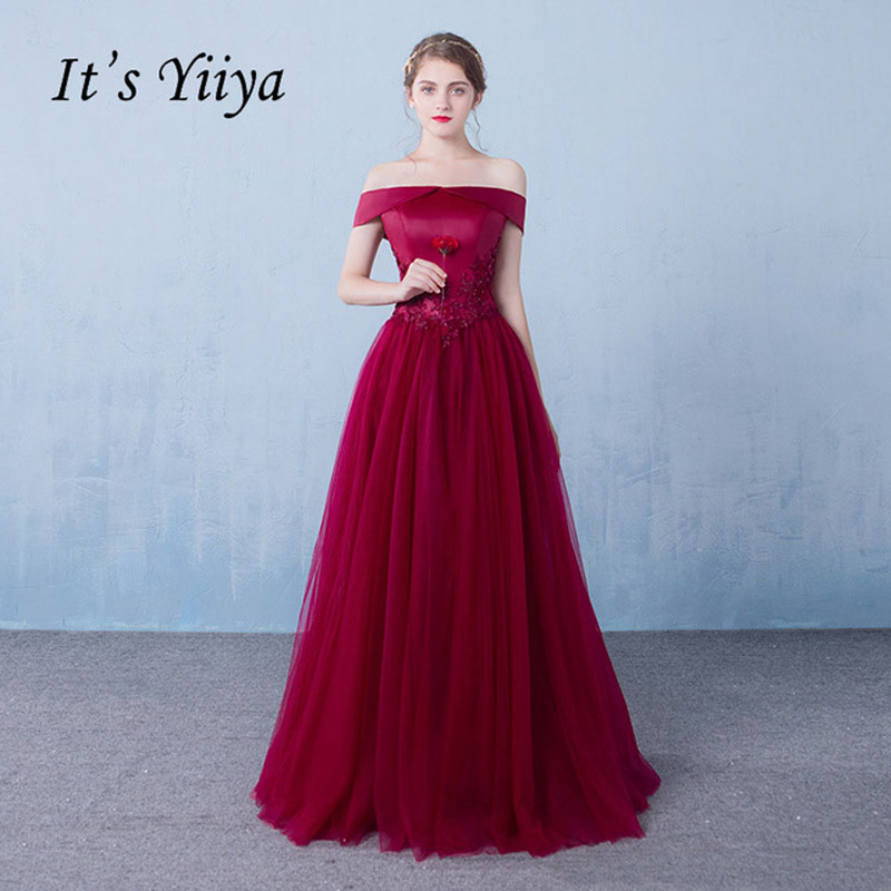 It's YiiYa Wine Red Boat Neck Sleeveless   Prom     Dresses   Flowers Simple Lace Floor Length Crepe Party Frocks Custom Made IIY074