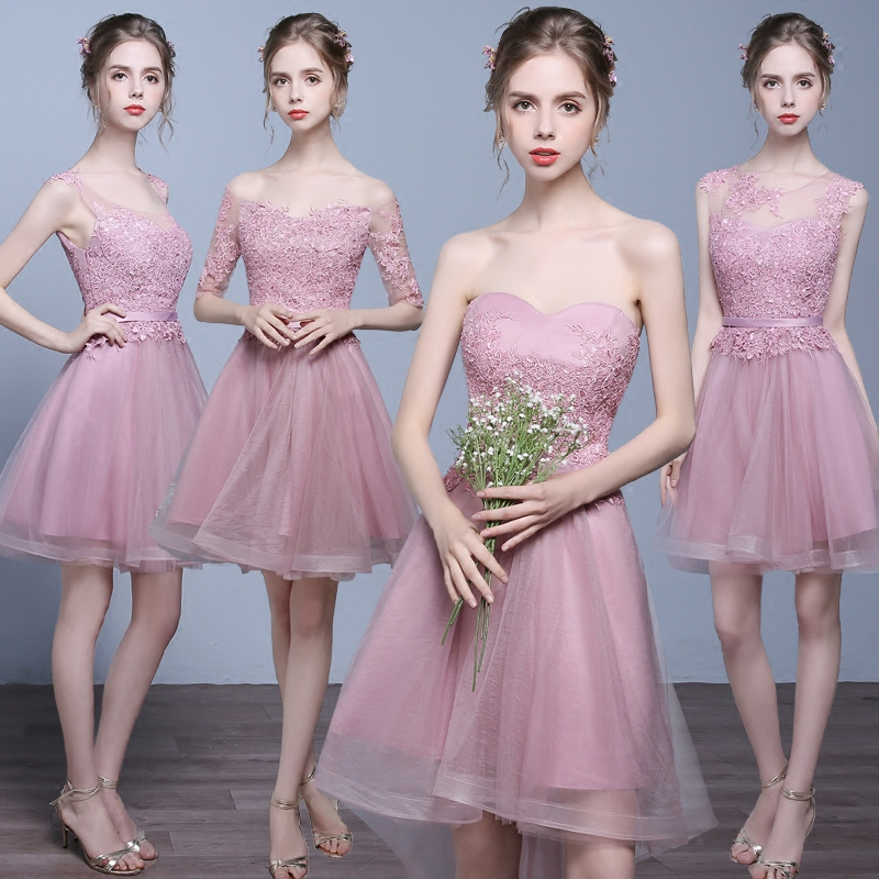 New pink short lace summer sweet lady girl women princess bridesmaid banquet party dress gown