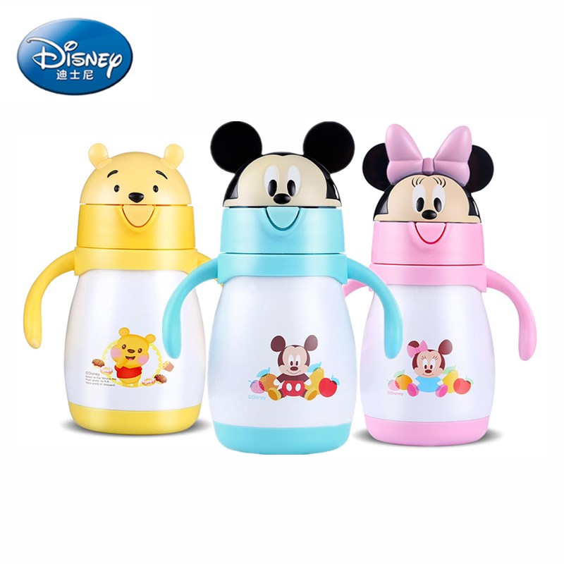 240ml Disney Baby Thermos Bottle Feeding Bottle Vacuum Kettle Minnie Stainless Steel leak-proof Thermos With Straw Lovely gift