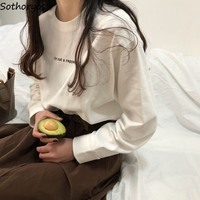 Футболки женские с длинным рукавом в Корейском стиле с буквенным принтом универсальные белые мягкие Модные женские s для отдыха женские выс...