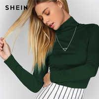 SHEIN Green Office Lady Solid Turtleneck Long Sleeve Slim Fit Elegant Tee Autumn Women Workwear Casual Women Tshirt Top