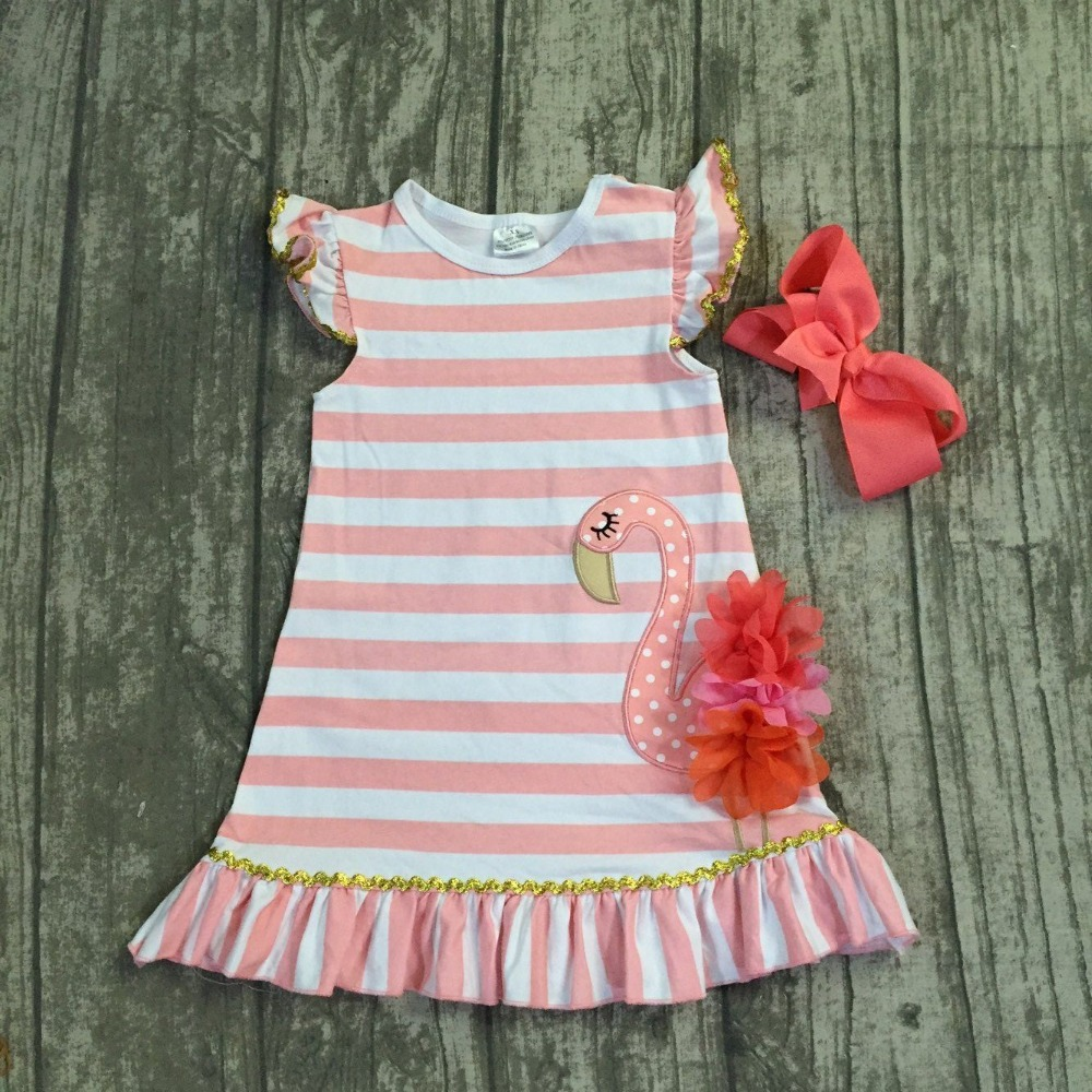 2018 new Summer dress baby kids wear girls clothing coral stripes flamingo cotton dress sleeves boutique dress with matching bow new girls outfit be a flamingo floral coral mint kids boutique shorts sets ruffles cotton clothing match with accessories