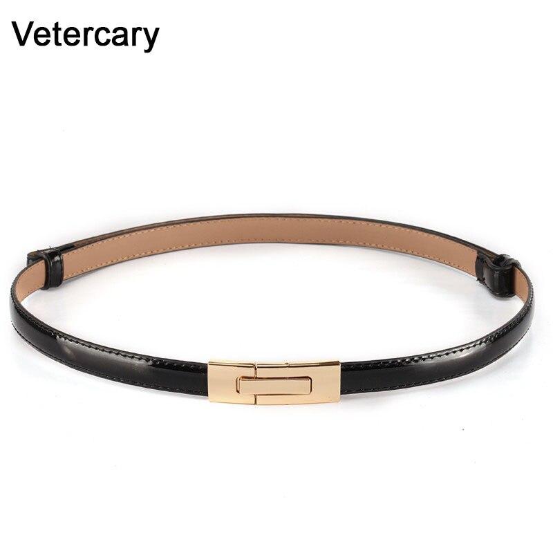 Newest Fashion Thin Belts For Women Gold Rectangle Buckle Patent Leather Adjust Cummerbunds Female Designer Brand Ceinture Femme