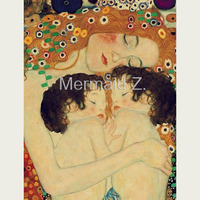 Hand painted Artwork Gustav Klimt Mother And Child Hold Oil Painting On Canvas Living room decor home decor canvas painting