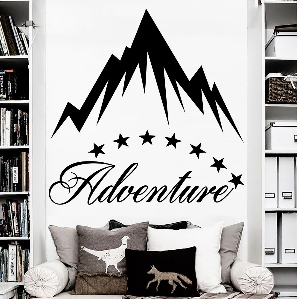 High quality adventure mountain wall decal star sticker art home high quality adventure mountain wall decal star sticker art home kids room interior decor vinyl design wallpaper ny 368 in wall stickers from home garden amipublicfo Choice Image