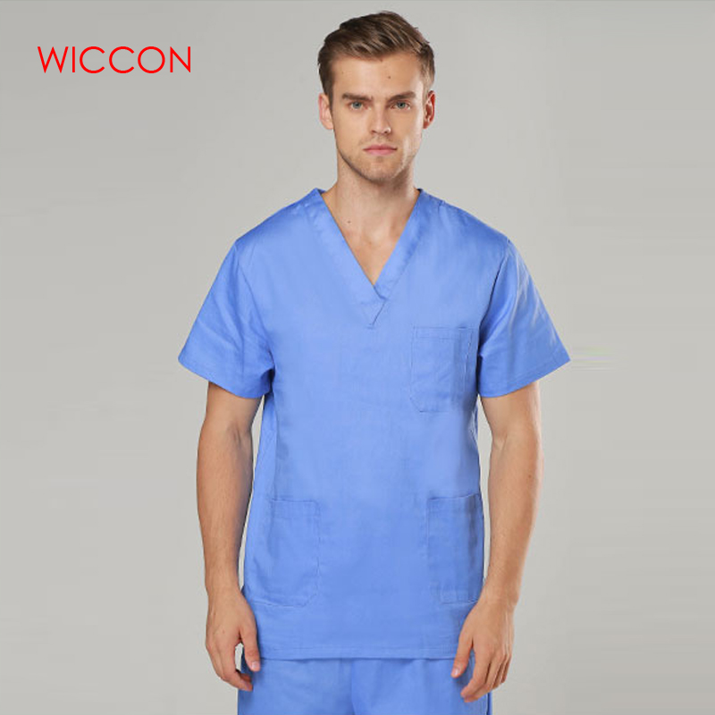 WICCON New Fashion Short Sleeved Men Suits Surgical Gowns Clothes Nurse Doctor Solid 2018 Summer Hot Cotton Coat Pants Uniform