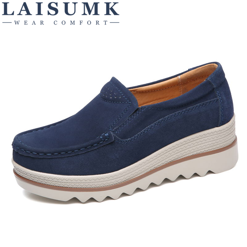 LAISUMK 2019 Autumn Women Flats Shoes Thick Soled Platform Shoes   Leather     Suede   Casual Shoes Slip On Flats Creepers Moccasins