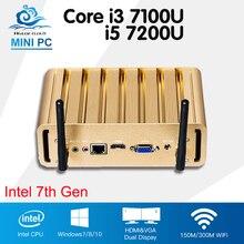 Mini PC Intel Core i5 7200U i3 7100U Barebone Windows 10 Office Mini Computer Kaby Lake 4K Media Player Minipc HTPC Nuc Desktop