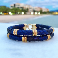 BC Fashion 5mm Blue Python Snake Leather Bracelets&bangles with Rose Stainless Steel Buckle Drop shipping men leather jewelry