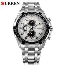 Curren 8023 de los hombres relojes de marca de lujo de los hombres militares relojes de pulsera hombres deportes de cuarzo reloj de acero completo impermeable relogio masculino
