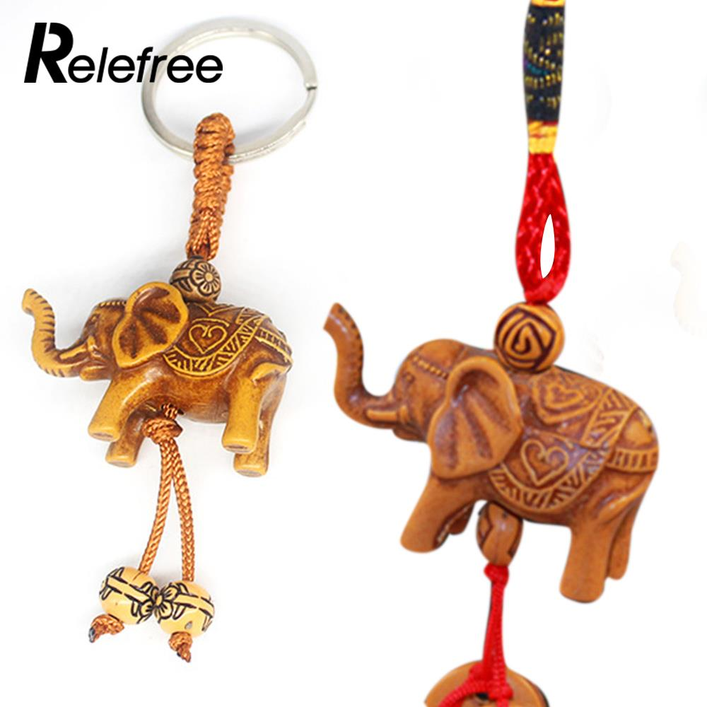 Wood Carving Portable Wood Jewelry Pendant Pendant Keychain Practical Resin Imitation Mahogany Gifts Durable Elephant Keychain To Have A Unique National Style