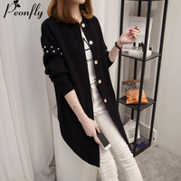 PEONFLY Clothes Autumn winter Cardigan Jacket Knitted Sweaters Women Coat Cardigans Female Girls Long Knitting Loose Coat