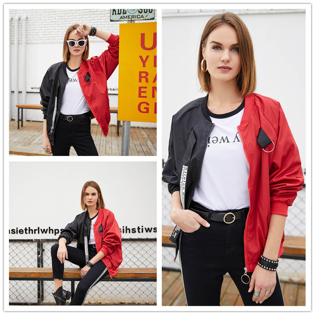 Patchwork Casual Bomber Jacket Women