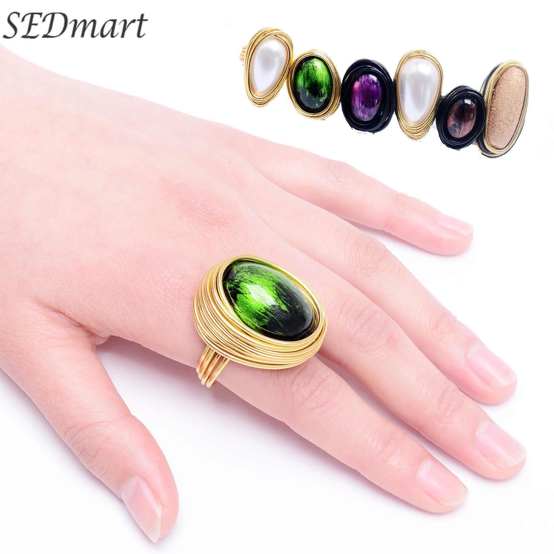 Qilmily модные большая жемчужина кристалл Крупное кольцо для Для женщин мужчин