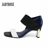 Jady Rose Mixed Color Women Gladiator Sandals Chunky High Heels Summer Valentine Shoes Woman Female Wedding