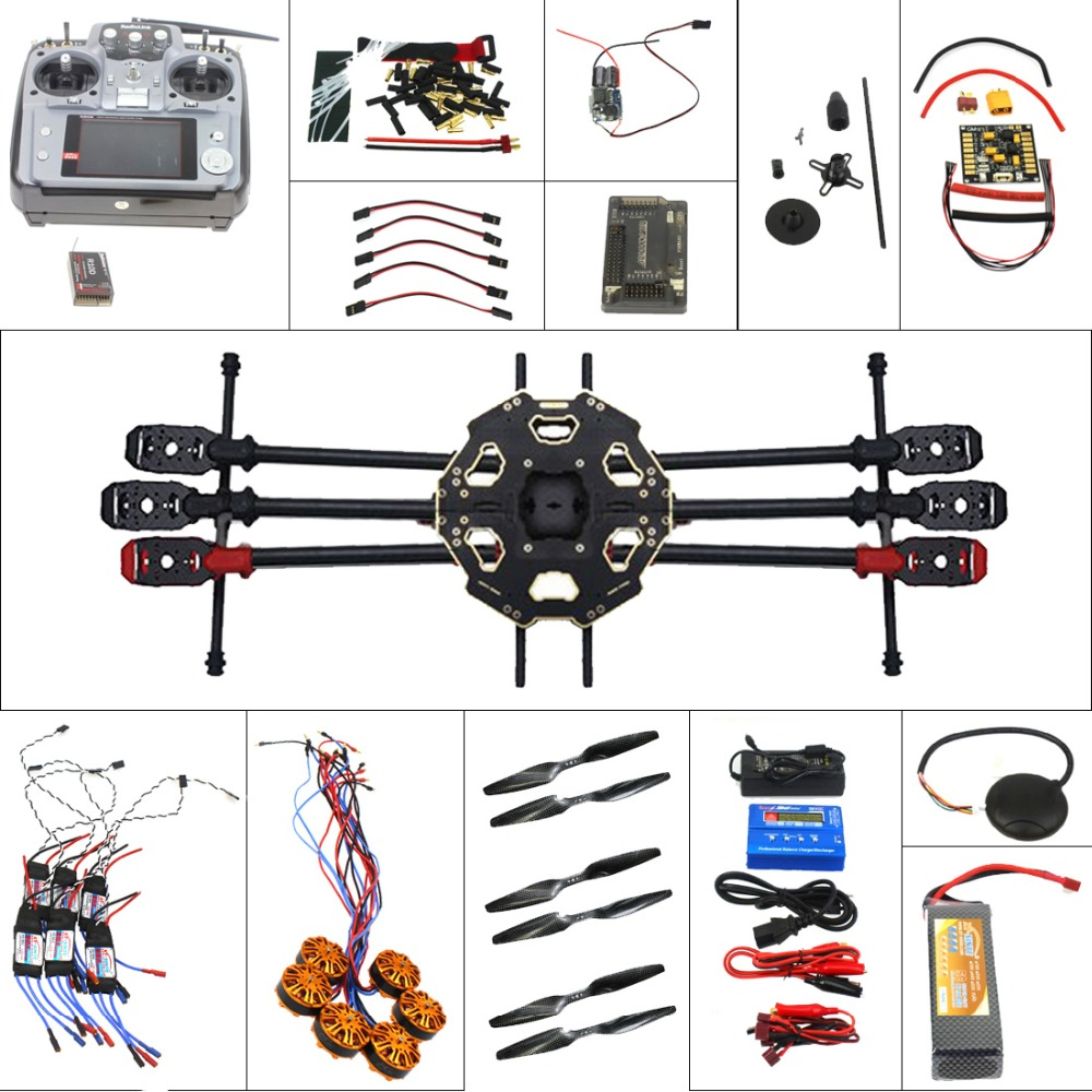 Full Helicopter Drone  Aircraft Kit Tarot 680PRO Frame 700KV Motor GPS APM 2.8 Flight Control AT10 Transmitter F07807-A naza m v2 flight control