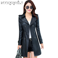 Double Breasted Medium Long Leather Jacket Women 2016 New Autumn Plus Size 4XL Black Red Women