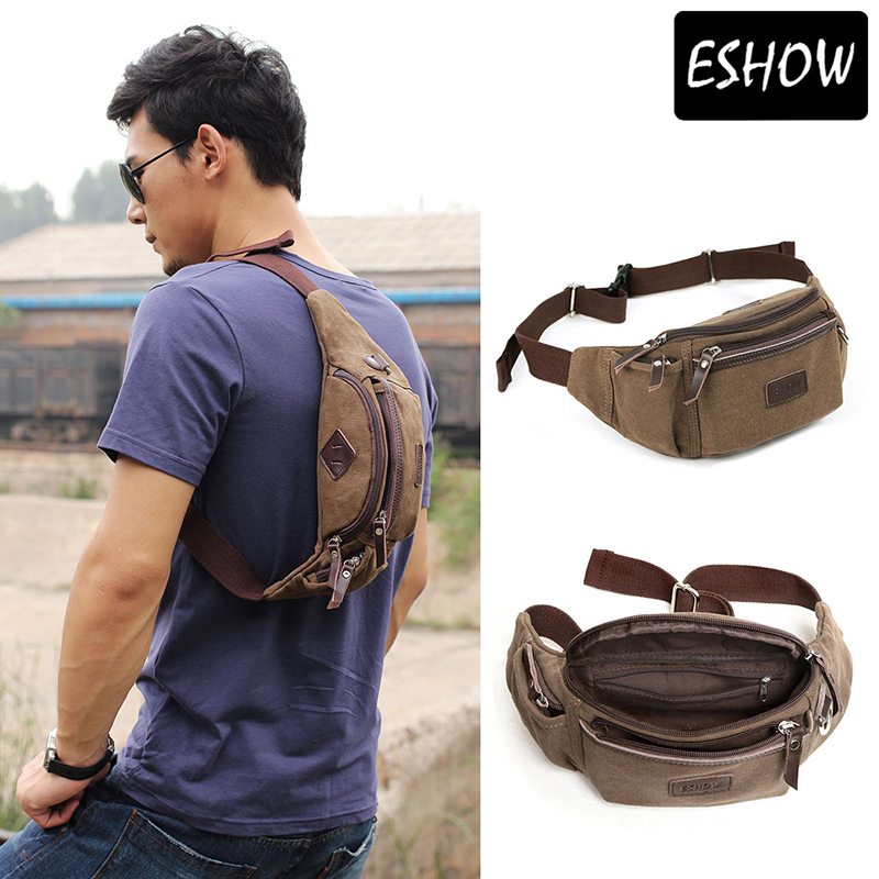 Eshow Canvas Men Waist Pack Running Bag Brown Fashion Purse Bfy000011 In Packs From Luggage Bags On Aliexpress Alibaba Group
