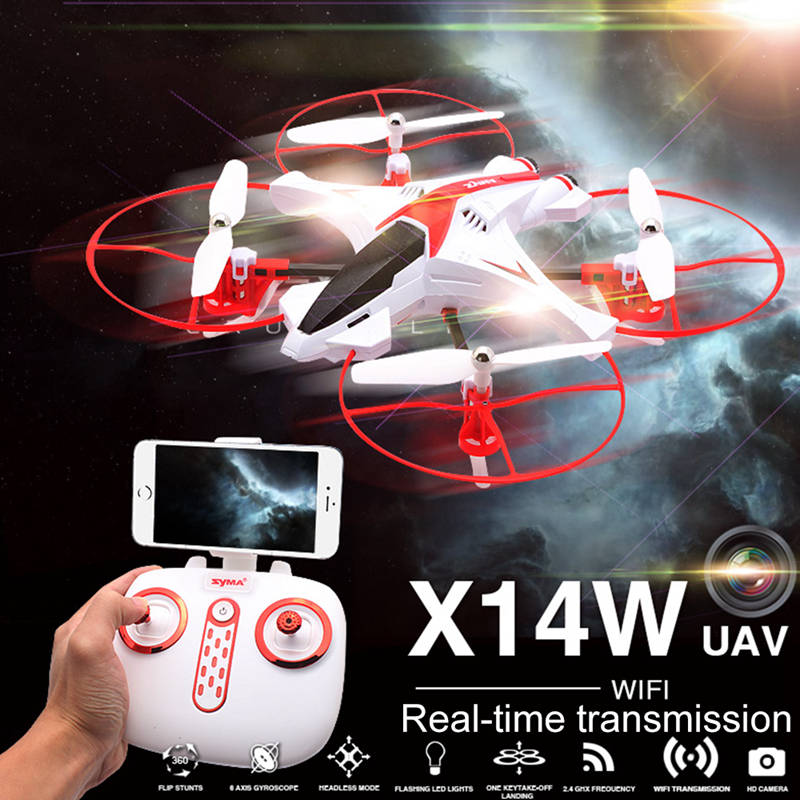 SYMA X14W Quadcopter RC UFO Drone With Camera APP Control Quadcopter Headless Mode Remote Control Helicopter Flying Saucer Toys 2015 mini high speed rc ufo quadcopter cx 31 headless mode 4ch 6 axis gyro remote control drone helicopter toy with led light