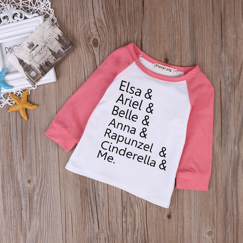 Cute Toddler Summer Clothes Baby Girl Patchwork T-shirt Baby Boy Famous Name Tops