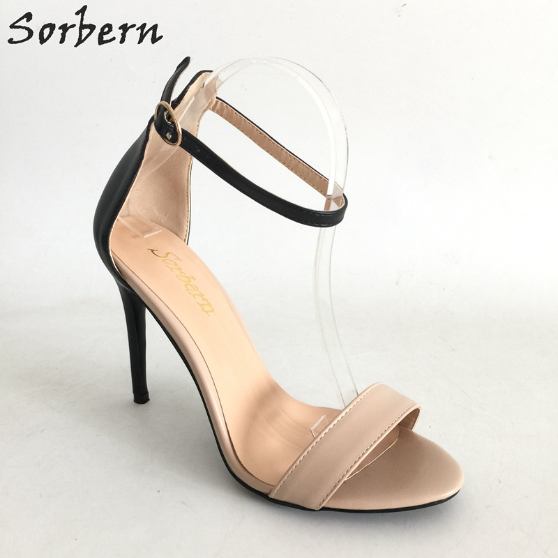 Plus Size Sorbern Women Sandals Shoes Buckle Strap Spike Heels Cheap Sandalia Feminina 2017 Zapatos Mujer Sexy Party Shoes sorbern women summer sandals shoes plus size 15cm transparent spike heels fashion ladies party shoes new arrive sandalia s