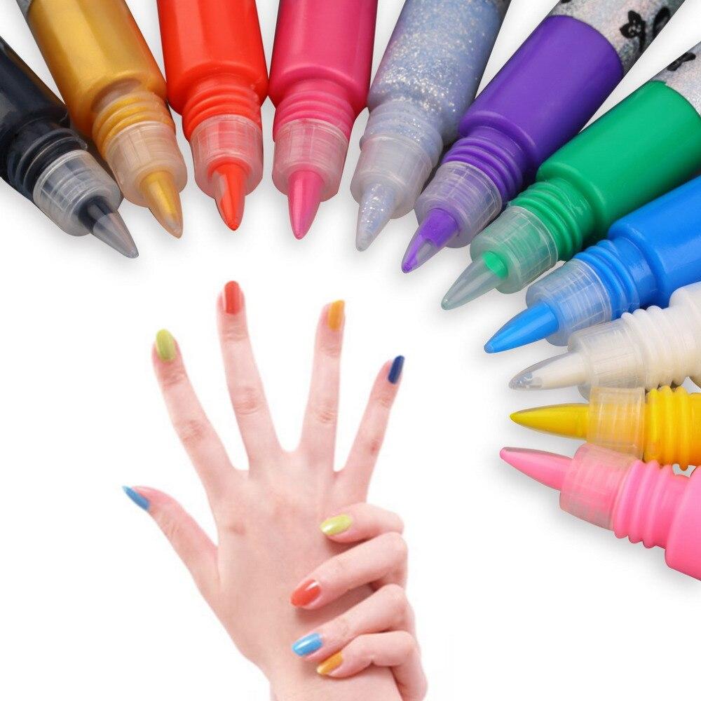 Fashion Nails Tools 12colors Nail Art Polish Pen For: 12 Colors Professional Beautiful 3D Nail Art Paint Drawing