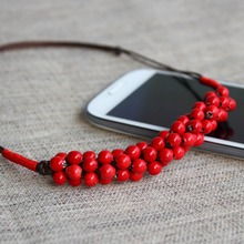 classic ceramic ormosia pendant necklace red chinese vintage accessories Christmas gift handicraft made by hand