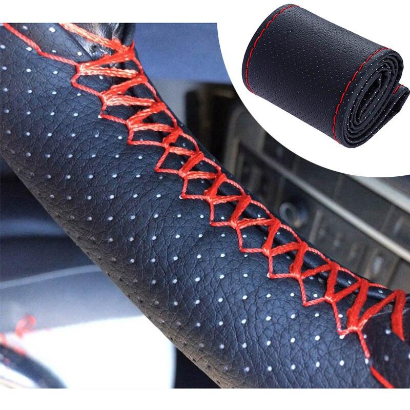 Rovtop Car Faux Leather Steering Wheel Cover Case DIY Braid Leather Steering Wheel With Needle & Thread Diameter 38cm For Car Z3