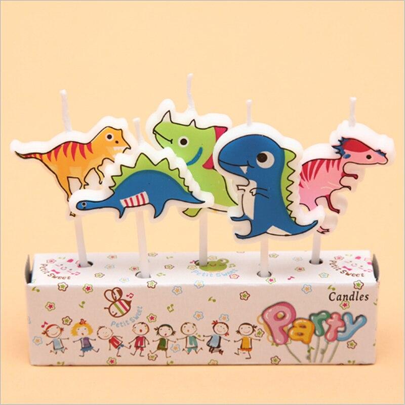 5 pçs/set Dinossauro Bonito Dos Desenhos Animados do Bolo de Aniversário Vela Vela de Aniversário Fontes da Festa de Aniversário Decorações Do Partido de Casamento