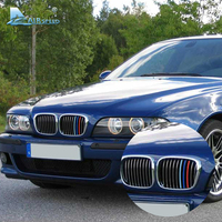 Airspeed 3 Pcs Lot Car Front Grille Trim Strips Cover Motorsport Stripe Stickers Decor For BMW