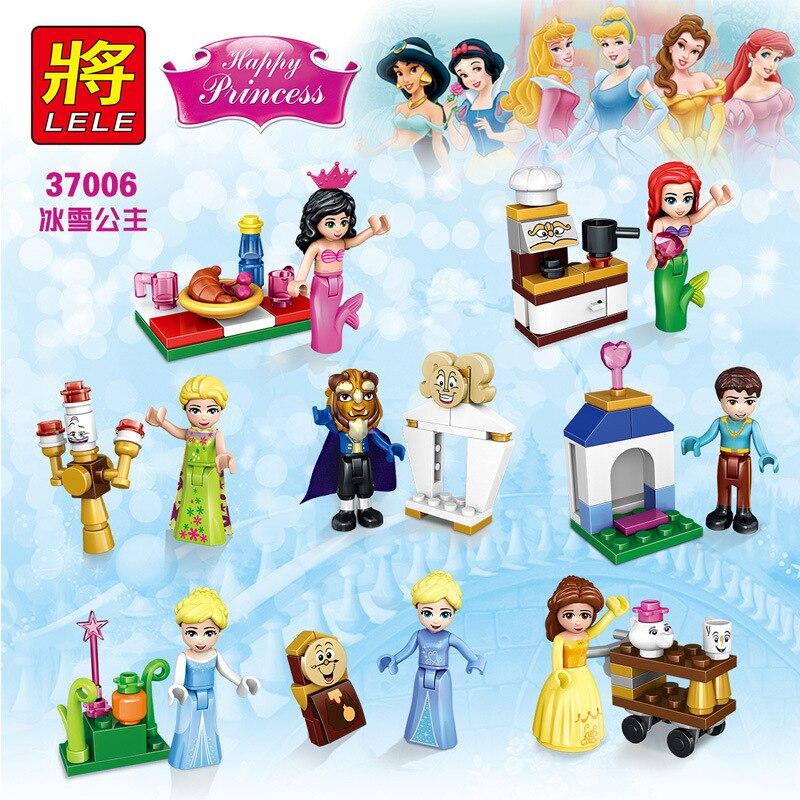 480pcs lele 37006 girl friends elsa's sparkling ice princess cinderella's romantic castle...