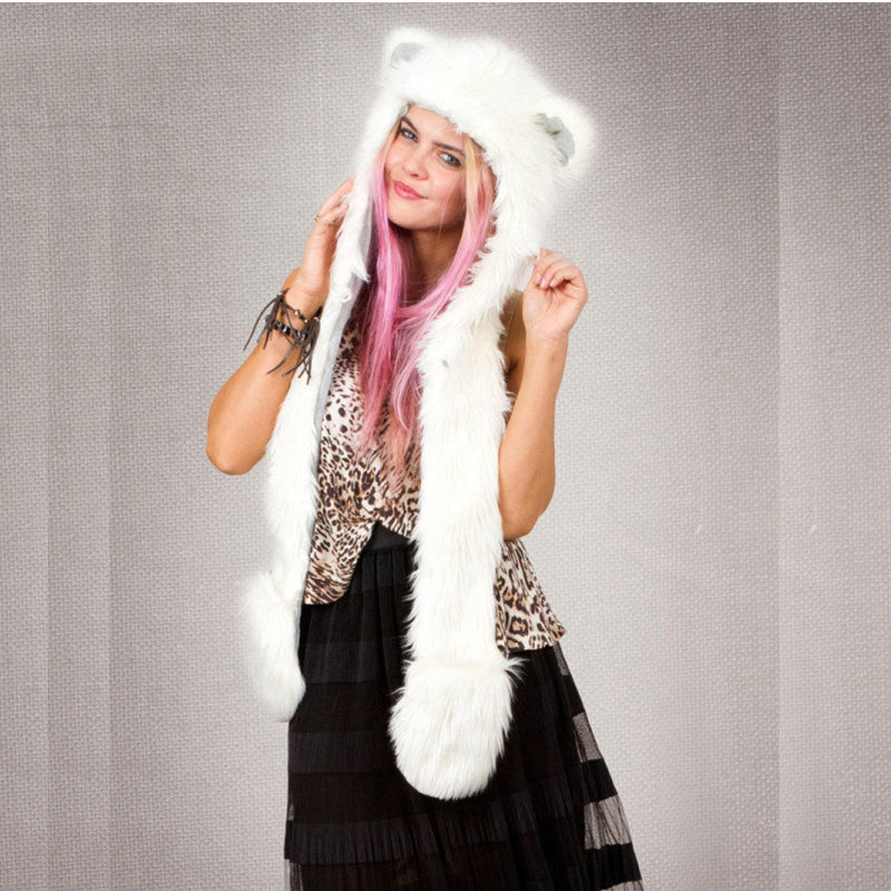 2019 Winter New Arrival White Fox Hooded Animal Cute Faux Cosplay Fur Cap Hat Scarf, Hat & Glove Sets PC207
