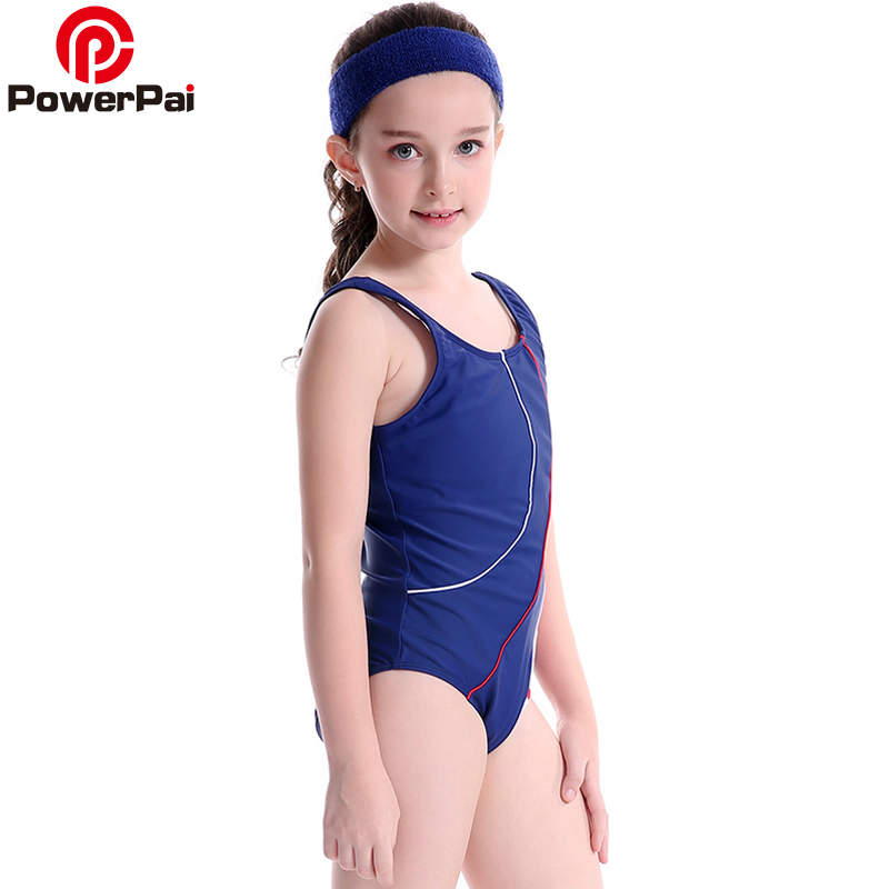 PowerPai Striped Thong Girls Swimwear 2017 off sleeve One Piece Swimsuit for baby kids Junior Student bikini Train Swim Suit