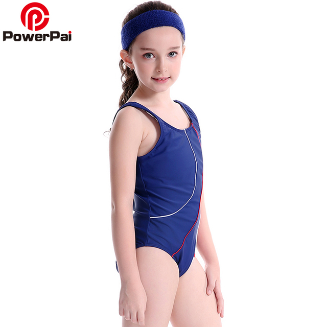 f9bba739af86b PowerPai Striped Thong Girls Swimwear 2017 off sleeve One Piece Swimsuit  for baby kids Junior Student bikini Train Swim Suit