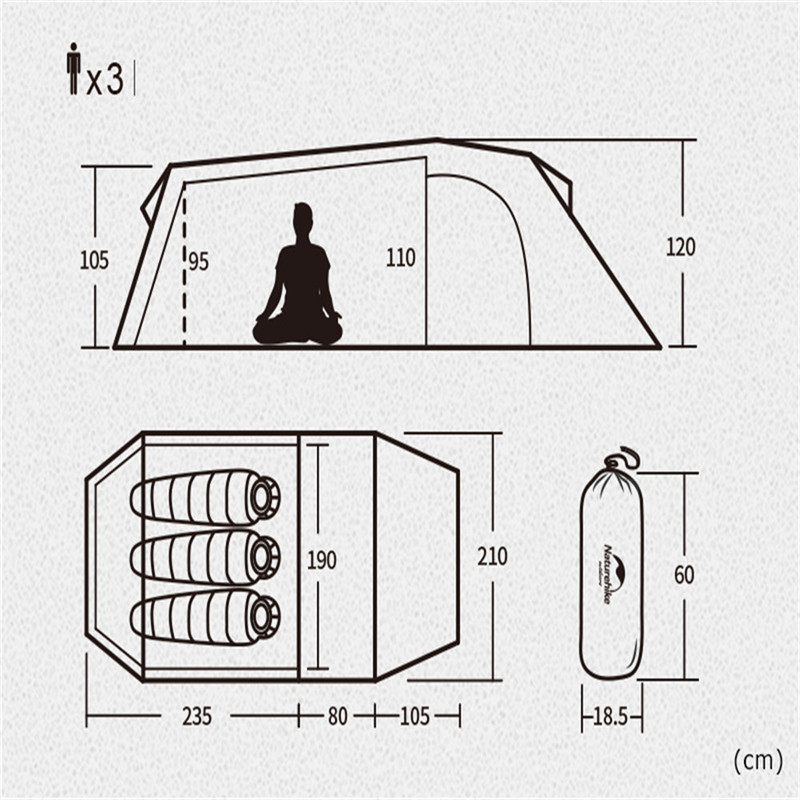 Image 4 - Naturehike 2019 New Ultralight Opalus Tunnel Double Tent Outdoor Camping Hiking 3 Persons Tent NH17L001 L-in Tents from Sports & Entertainment