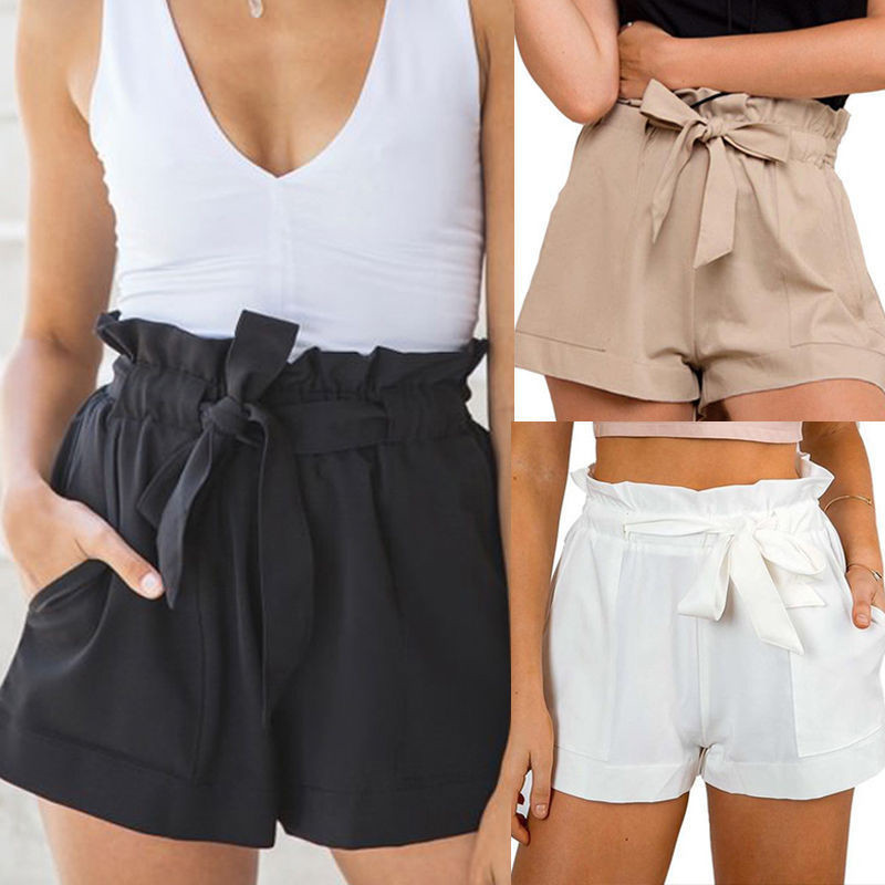 MoneRffi Fashion Women Sexy OL High Waist Lace-up Drawstring Ruffles Solid Cotton   Shorts   Crepe   Shorts   Summer Beach Casual   Shorts