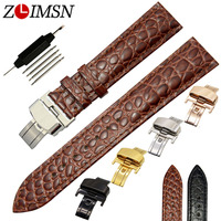 ZLIMSN 18mm 20mm Brown Belt Short Crocodile Genuine Leather Watch Band Strap Men Women Watch Watches