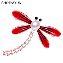 SHDIYAYUN 2019 New Pearl Brooch Dragonfly Brooch For Women 3 Color Brooch Pins Natural Freshwater Pearl Jewelry Decoration Gift цена и фото