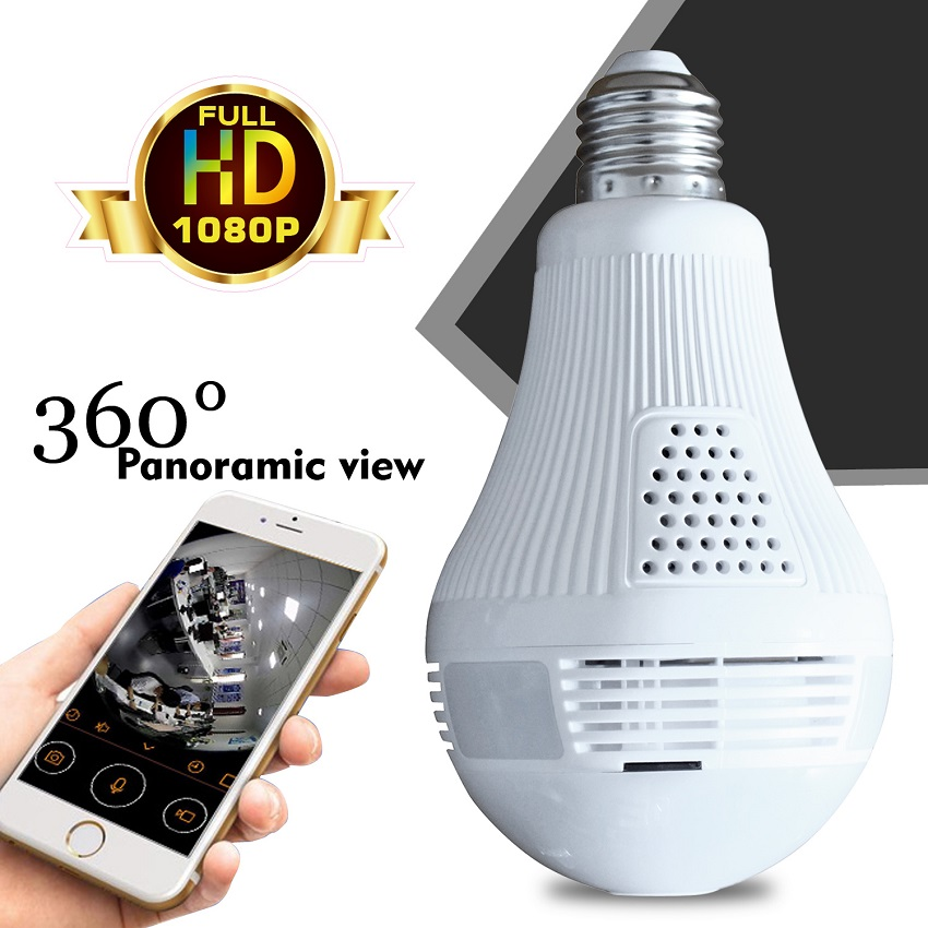 HD 1080P Bulb Light font b Wireless b font IP Camera 2MP Mini Lamp Infrared Cam